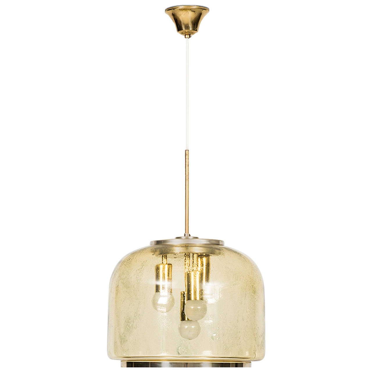Mid Century Ceiling Lamp in Brass and Glass
