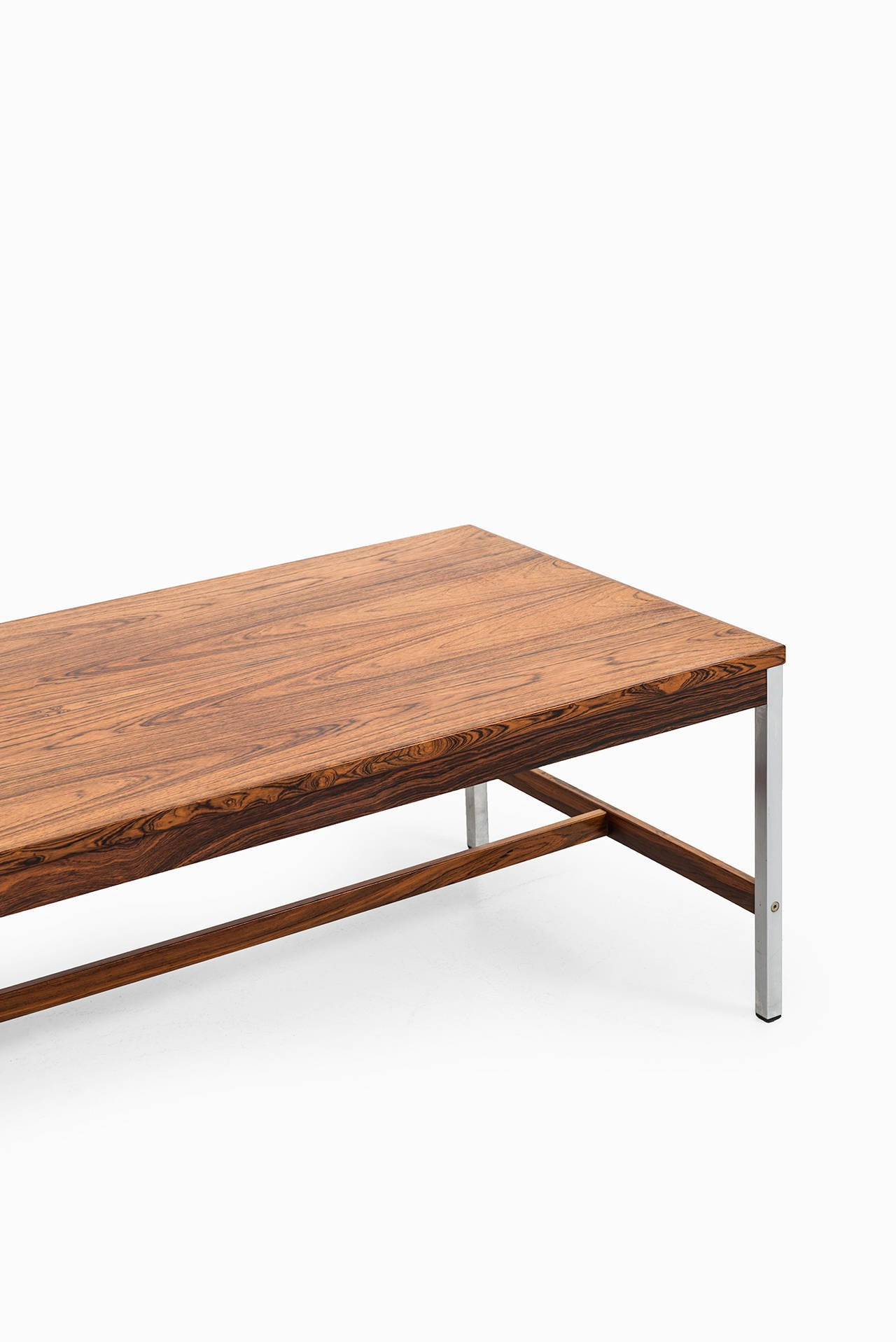 Rosewood Coffee Table With Steel Legs Produced By Hmb M Bler In Sweden At 1stdibs