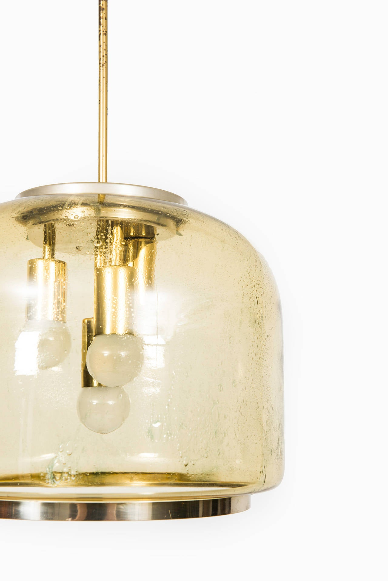 Mid century ceiling lamp in brass and glass for sale at for Mid century ceiling lamp
