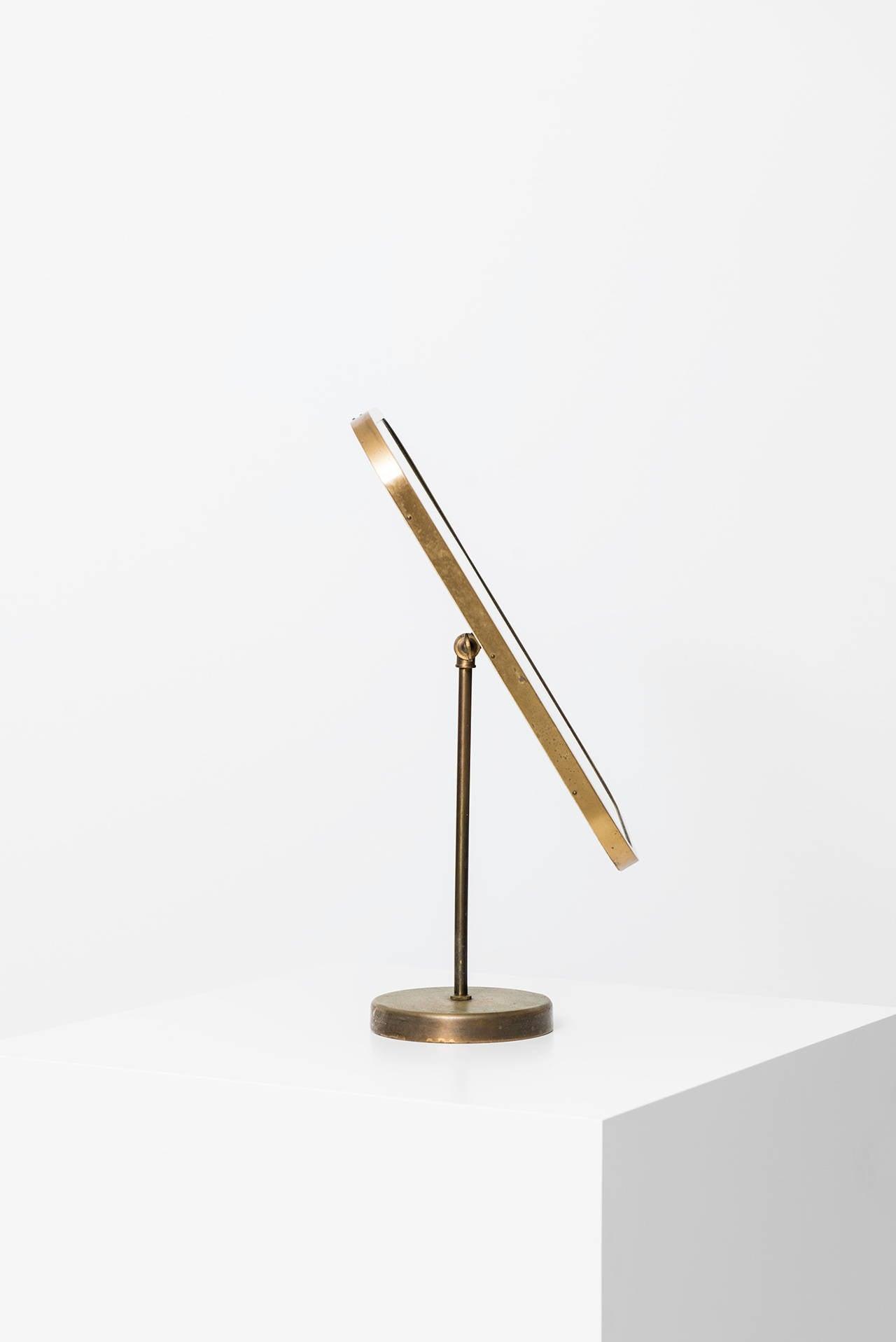 Mid-Century Modern Josef Frank Table Mirror in Brass by Nordiska Kompaniet in Sweden For Sale