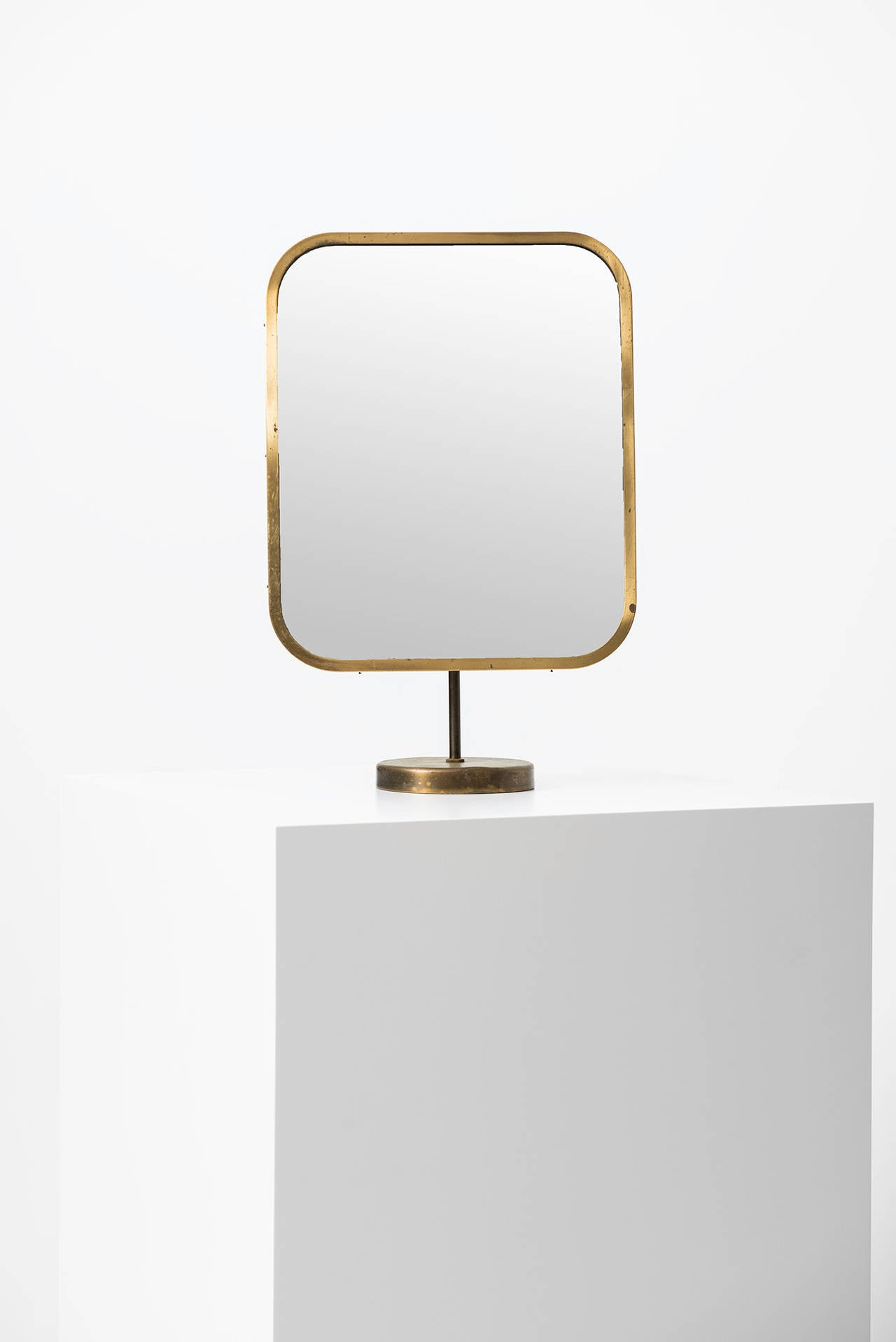 Josef Frank Table Mirror in Brass by Nordiska Kompaniet in Sweden For Sale 1