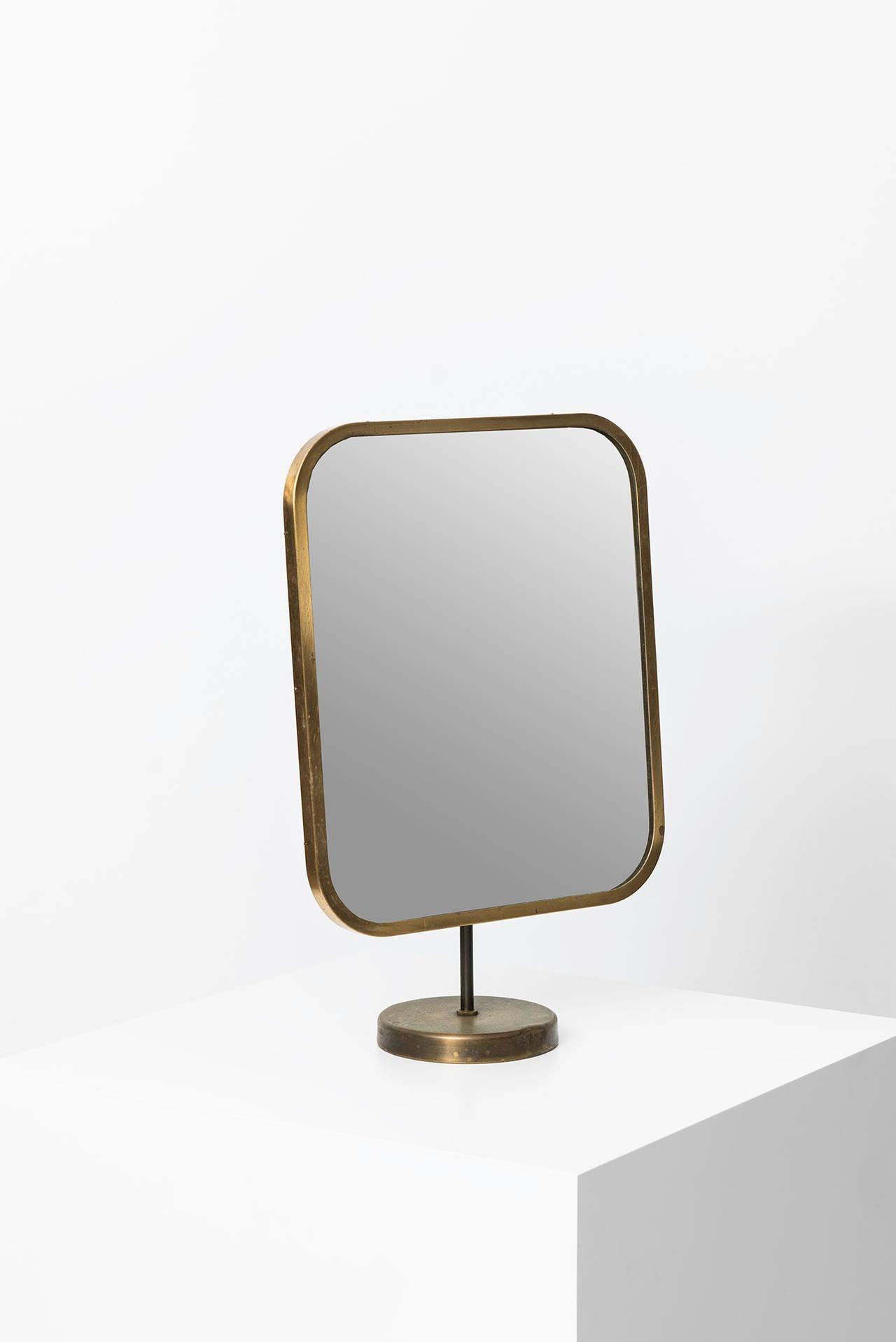 Swedish Josef Frank Table Mirror in Brass by Nordiska Kompaniet in Sweden For Sale