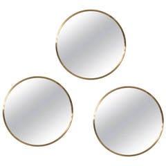 Set of Three Round Mirrors in Brass by Glasmäster in Sweden