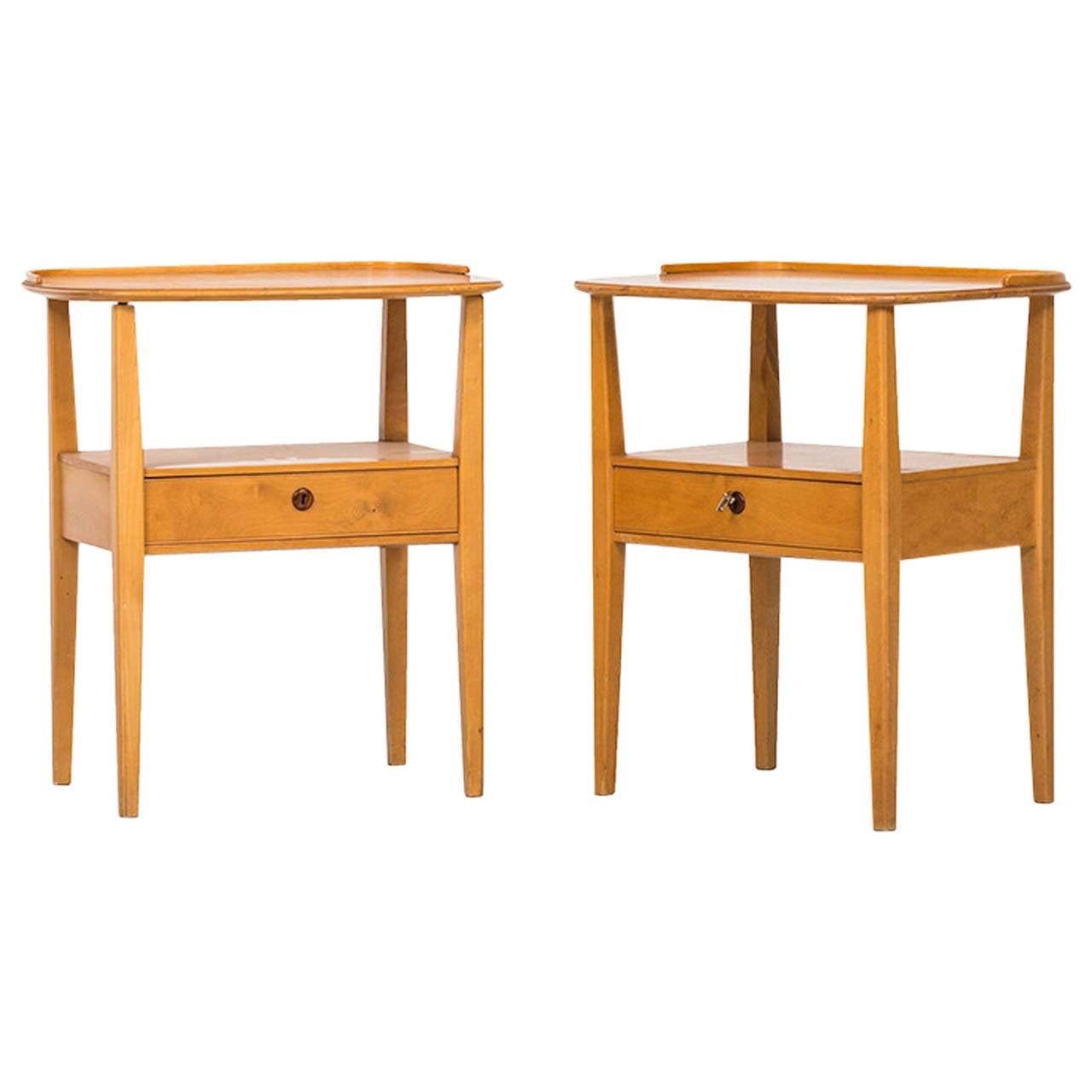 Pair of Freestanding Bedside Tables by Nordiska Kompaniet in Sweden