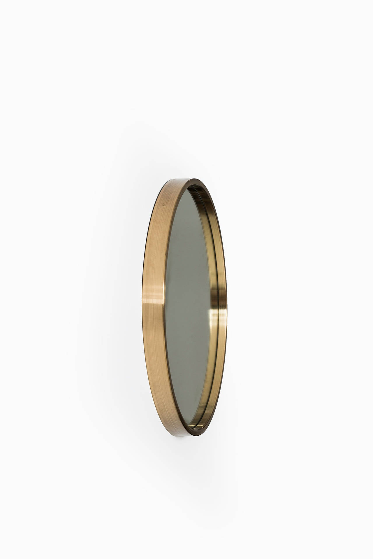 Mid Century Modern Set Of Three Round Mirrors In Brass By