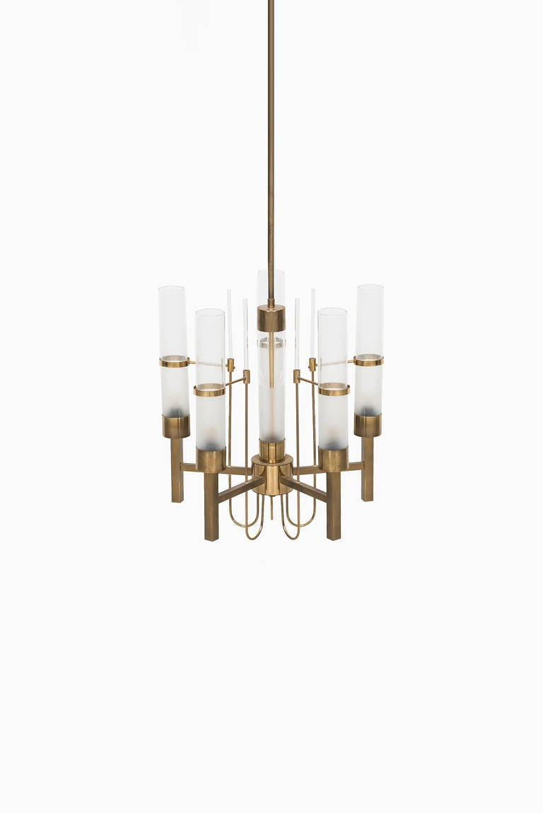 Very rare ceiling lamp designed by Gaetano Sciolari. Produced by Sciolari in Italy. Brass and handblown glass tubes.
