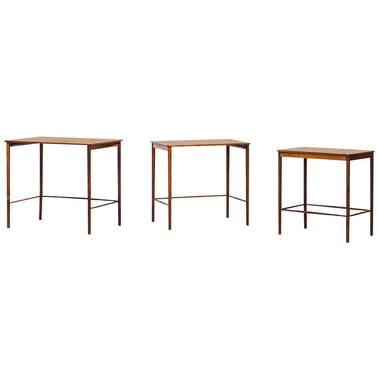 Grete Jalk Nesting Tables In Rosewood By P. Jeppesen In Denmark For Sale