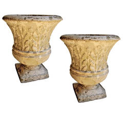 Pair of Cast Stone Garden Urns with Lovely Worn Painted Finish