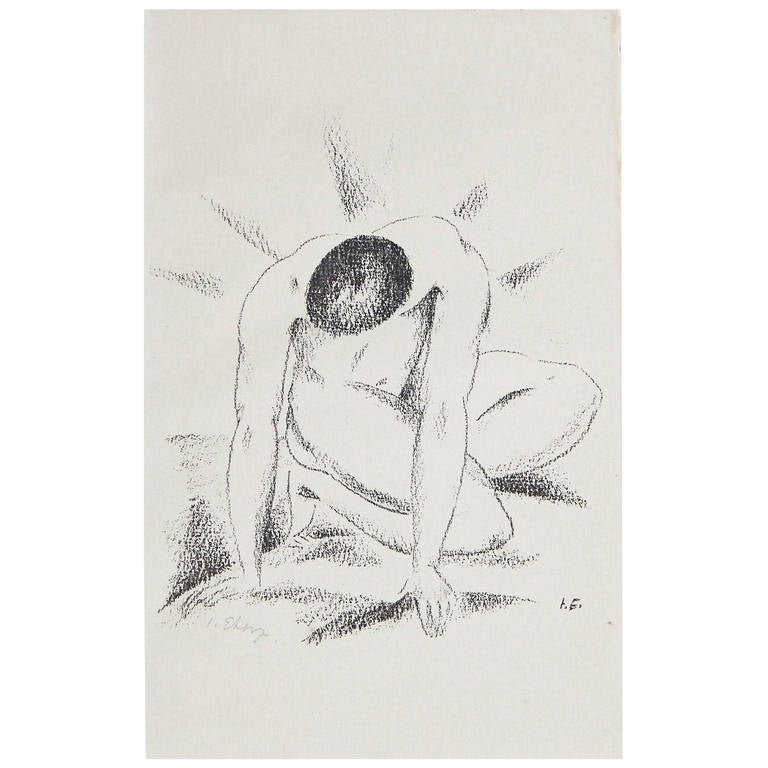 """""""Kneeling Male Nude,"""" Rare and Important Print, signed by Josef Eberz"""
