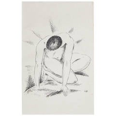 """Kneeling Male Nude,"" Rare and Important Print, signed by Josef Eberz"