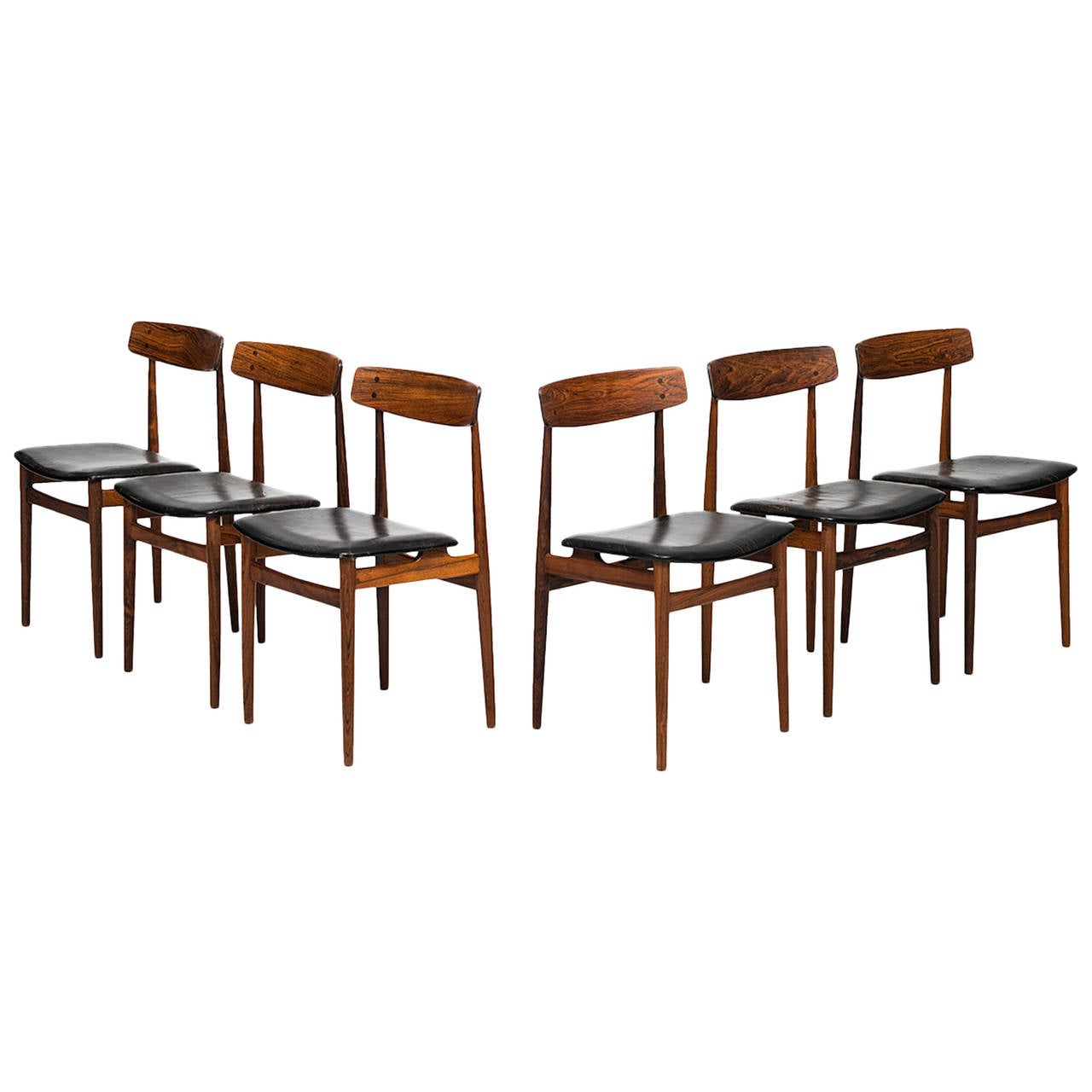 midcentury dining chairs in rosewood and black leather for sale at
