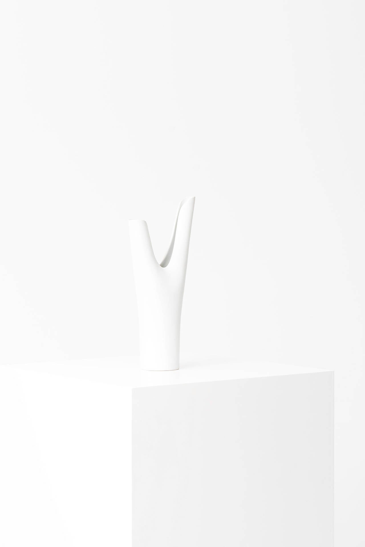 Tall ceramic vase model Veckla designed by Stig Lindberg. Produced by Gustavsberg in Sweden.