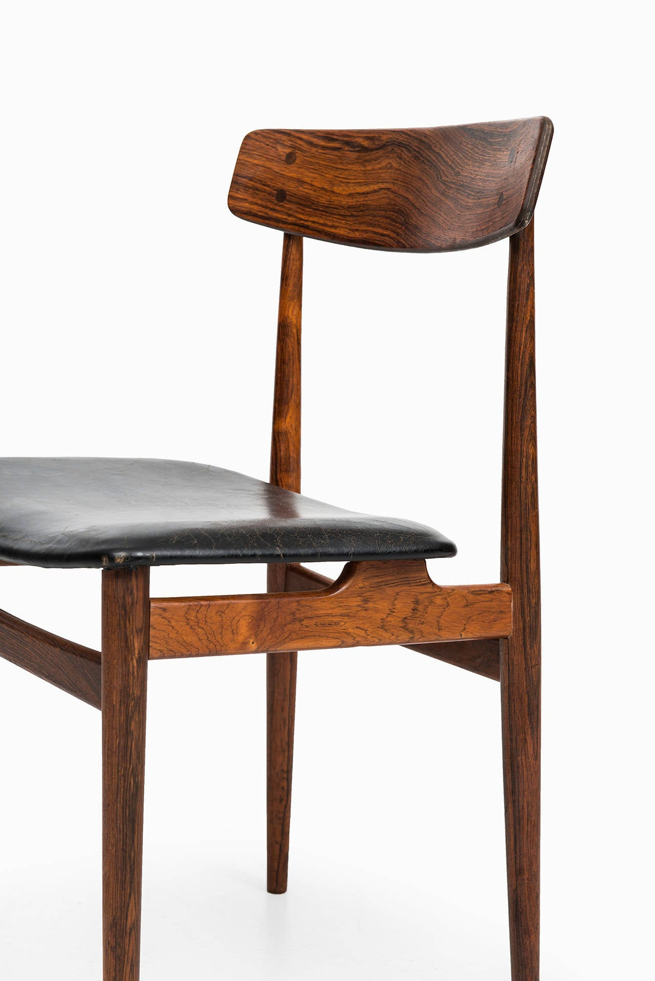 Midcentury Dining Chairs In Rosewood And Black Leather For