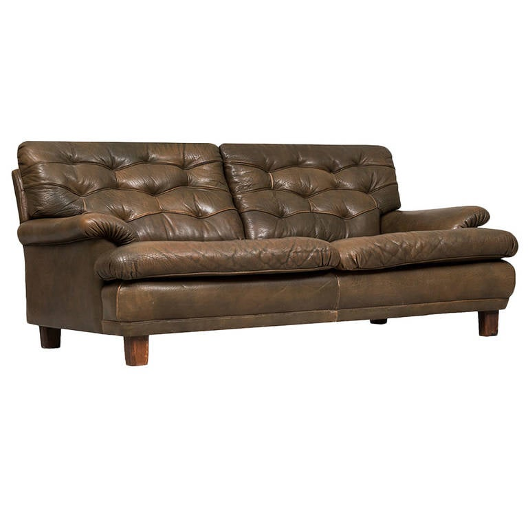 Arne Norell Buffalo Leather Sofa By Ab In Sweden For
