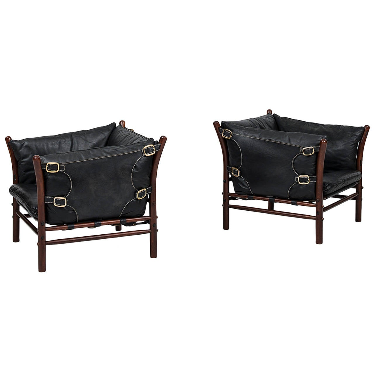 arne norell ilona easy chairs in black leather by norell ab in sweden