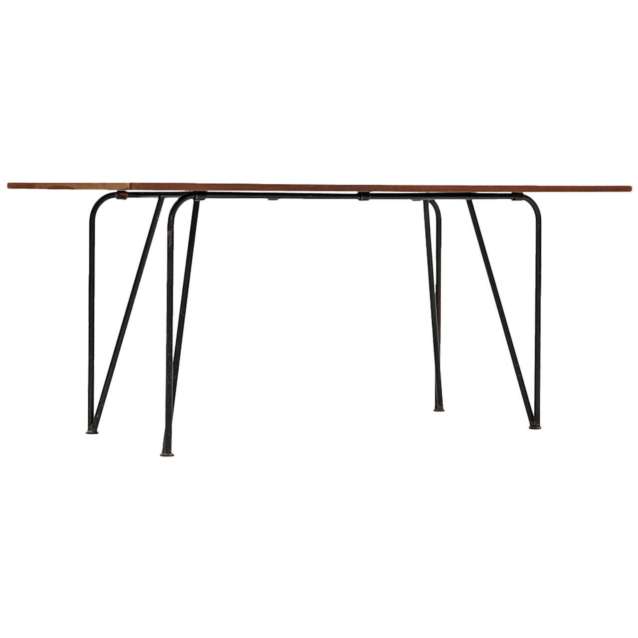 Mid century dining table / desk in black lacquered steel and teak top
