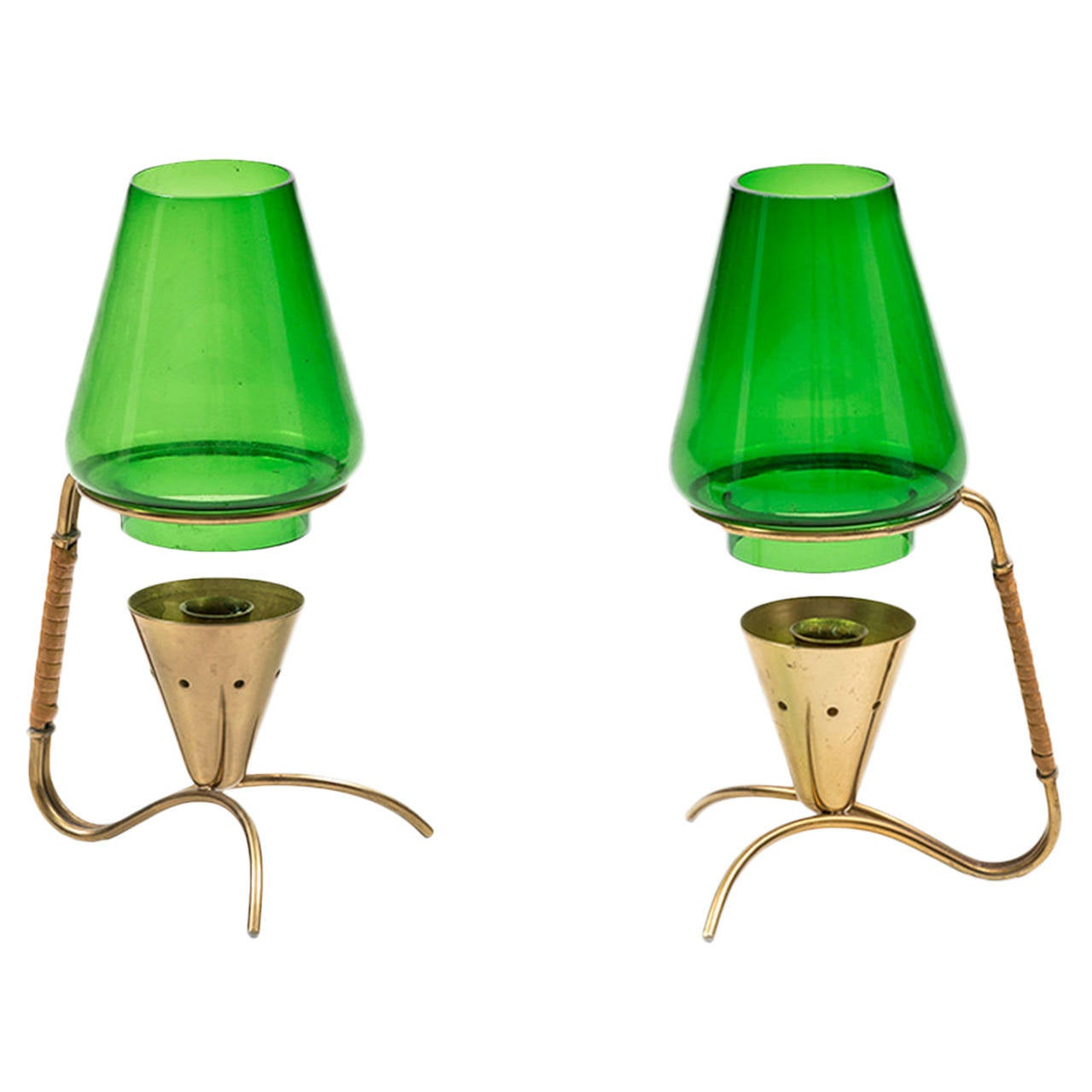 Gunnar Ander candlesticks in brass and green glass by Ystad metall in Sweden