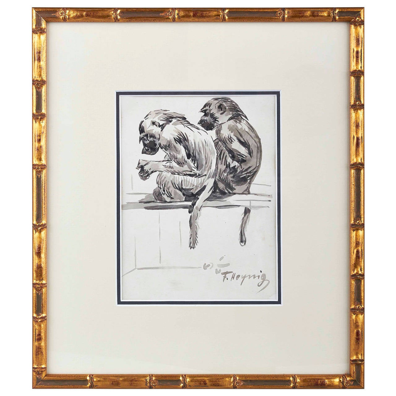 drawing of two monkeys by felix heynig for sale at 1stdibs