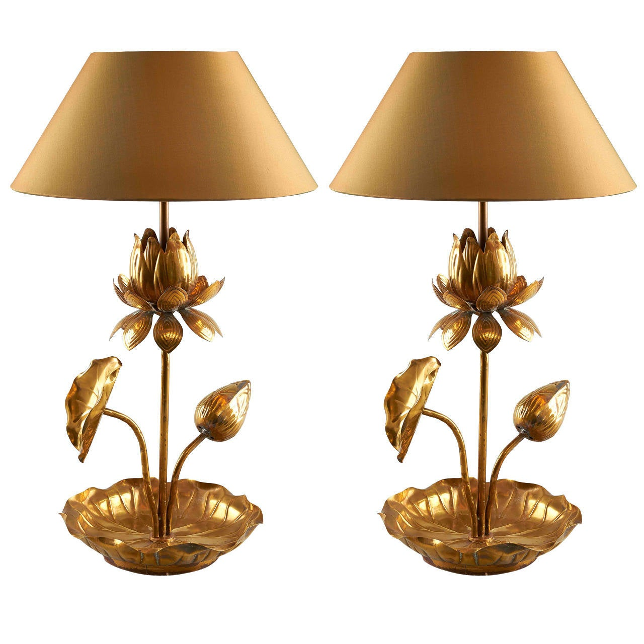 Art deco silver and stacked crystal ball floor lamp at 1stdibs - Elegant Pair Of Brass Lotus Table Lamps 1