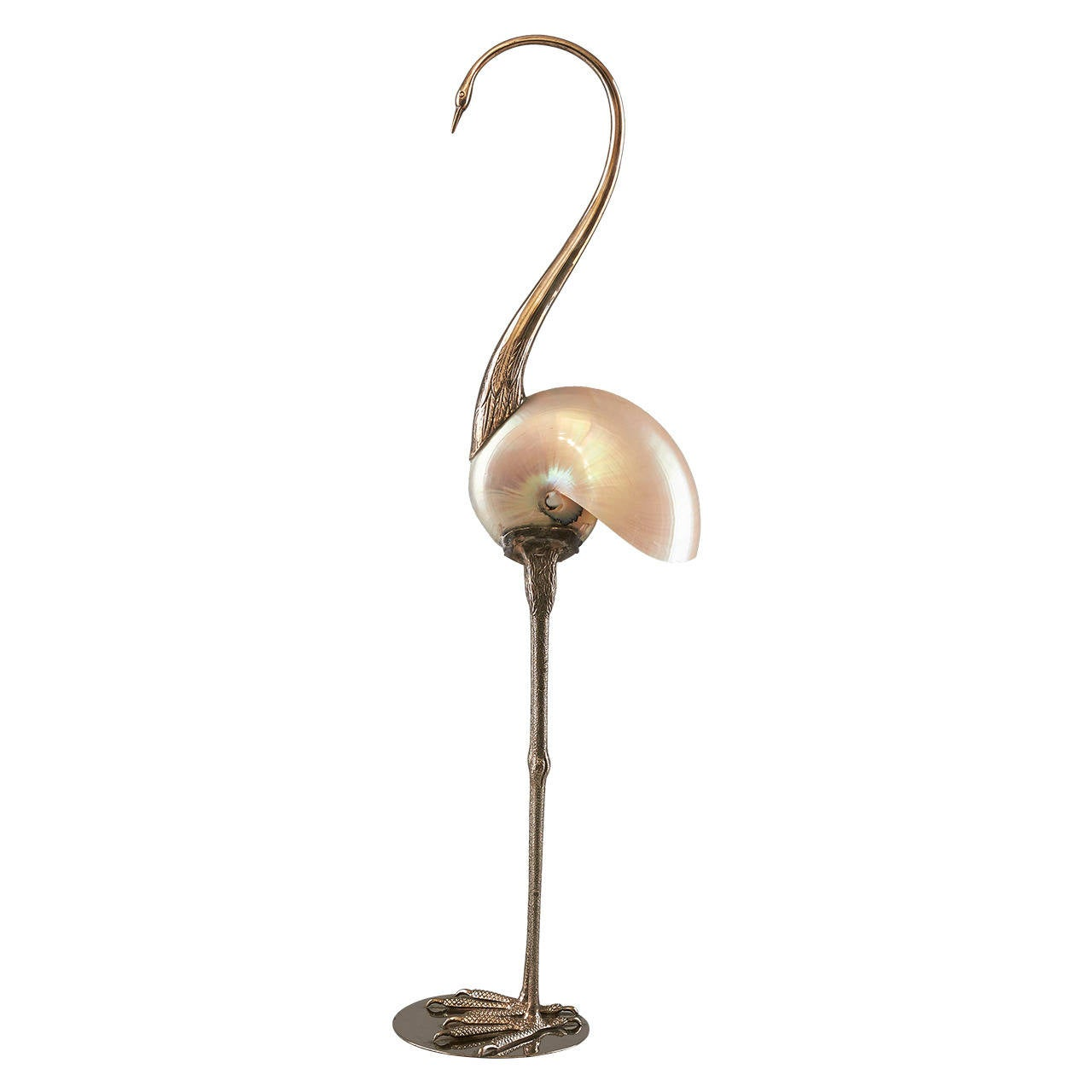 Nautilus Shell Flamingo Sculpture at 1stdibs