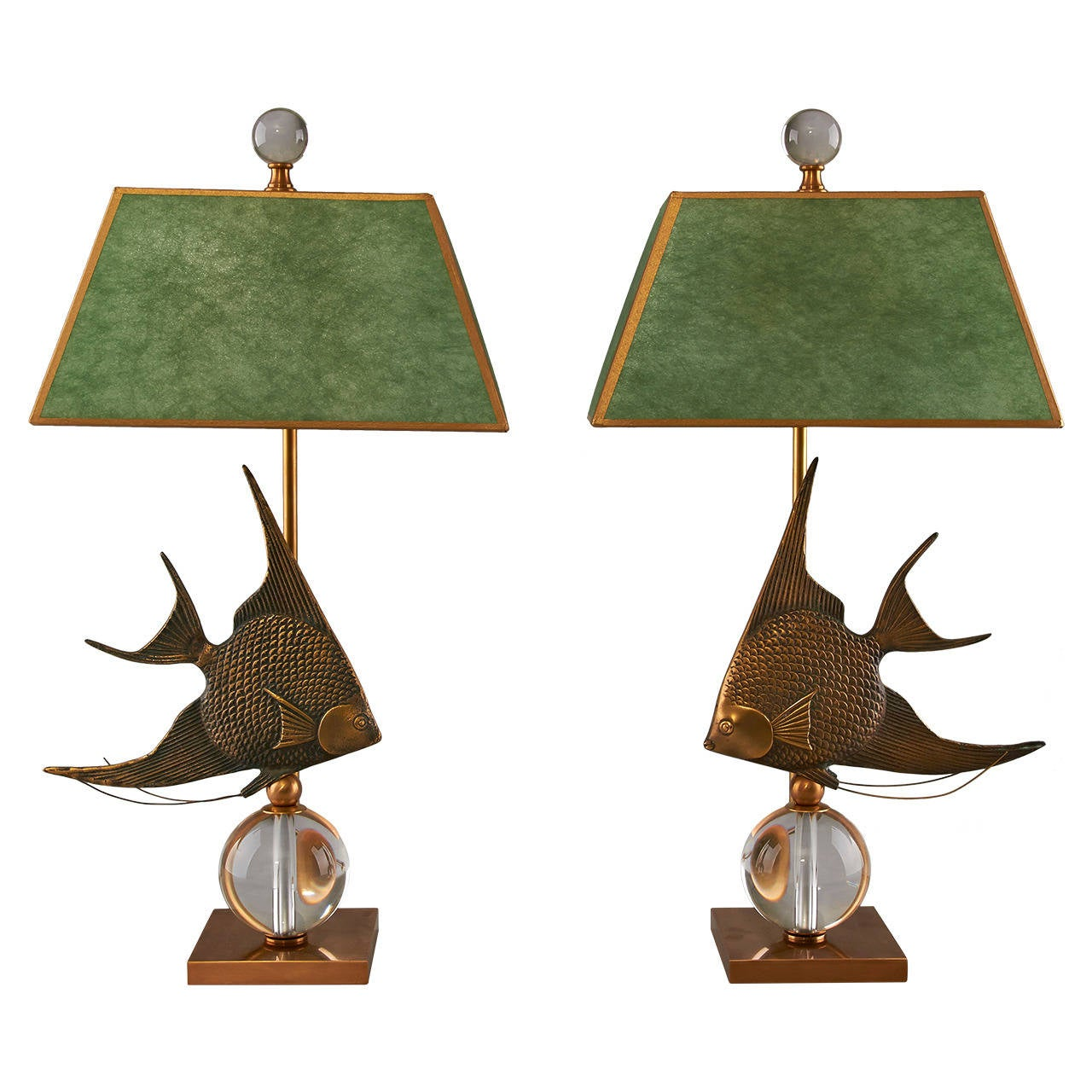 pair of table lamps angelfish on crystal ball at 1stdibs. Black Bedroom Furniture Sets. Home Design Ideas