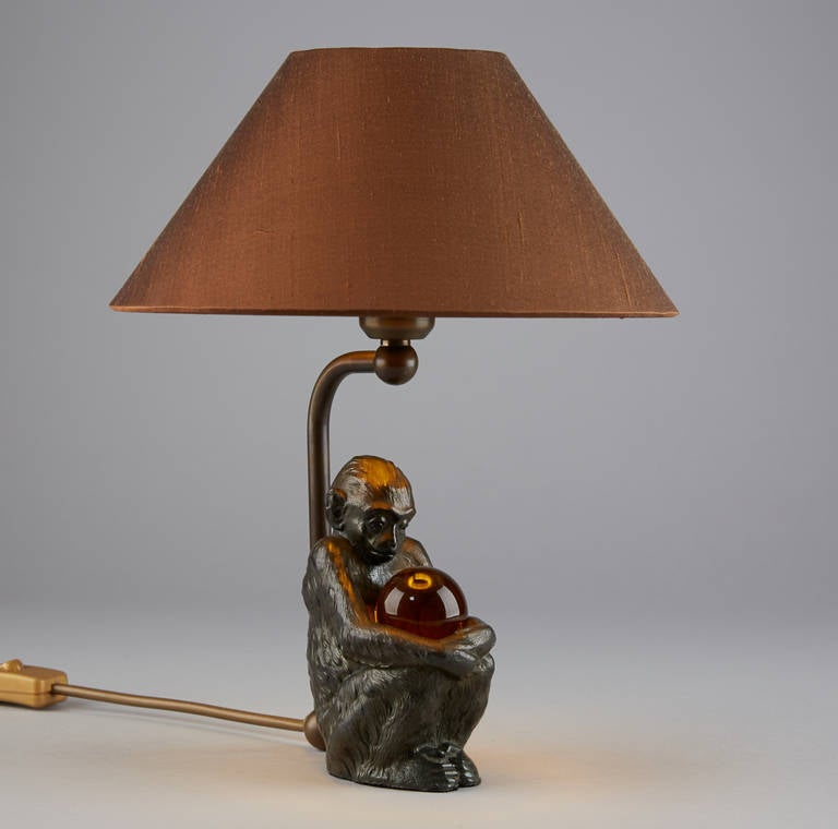 table lamp sitting monkey with crystal ball at 1stdibs. Black Bedroom Furniture Sets. Home Design Ideas