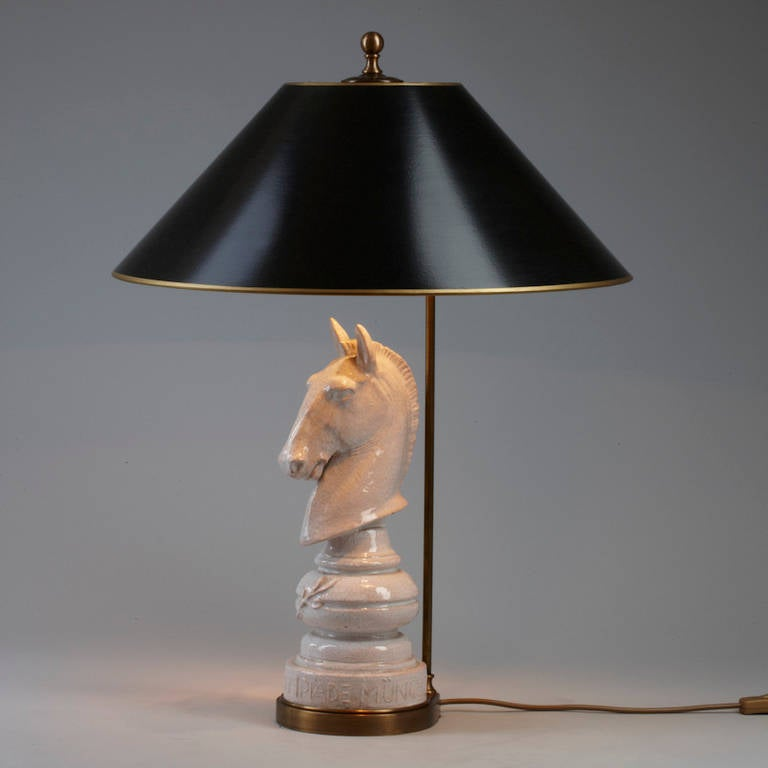 Pottery Barn Horse Bit Lamp: Pair Of Table Lamps White Pottery Horse Heads In The Shape