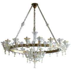 Italian Venetian, Chandelier, Blown Murano Glass, Antique Gold and Brass, 1950s