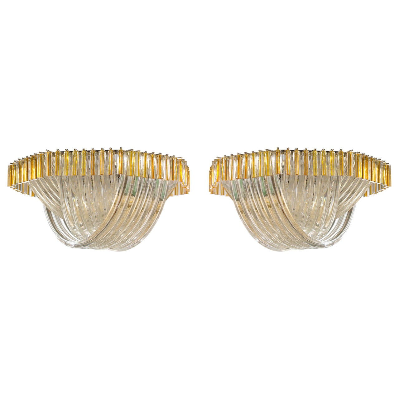 Venini Amber pair ''Curve'' Italian Murano Blown glass ceiling lightning, 1980s