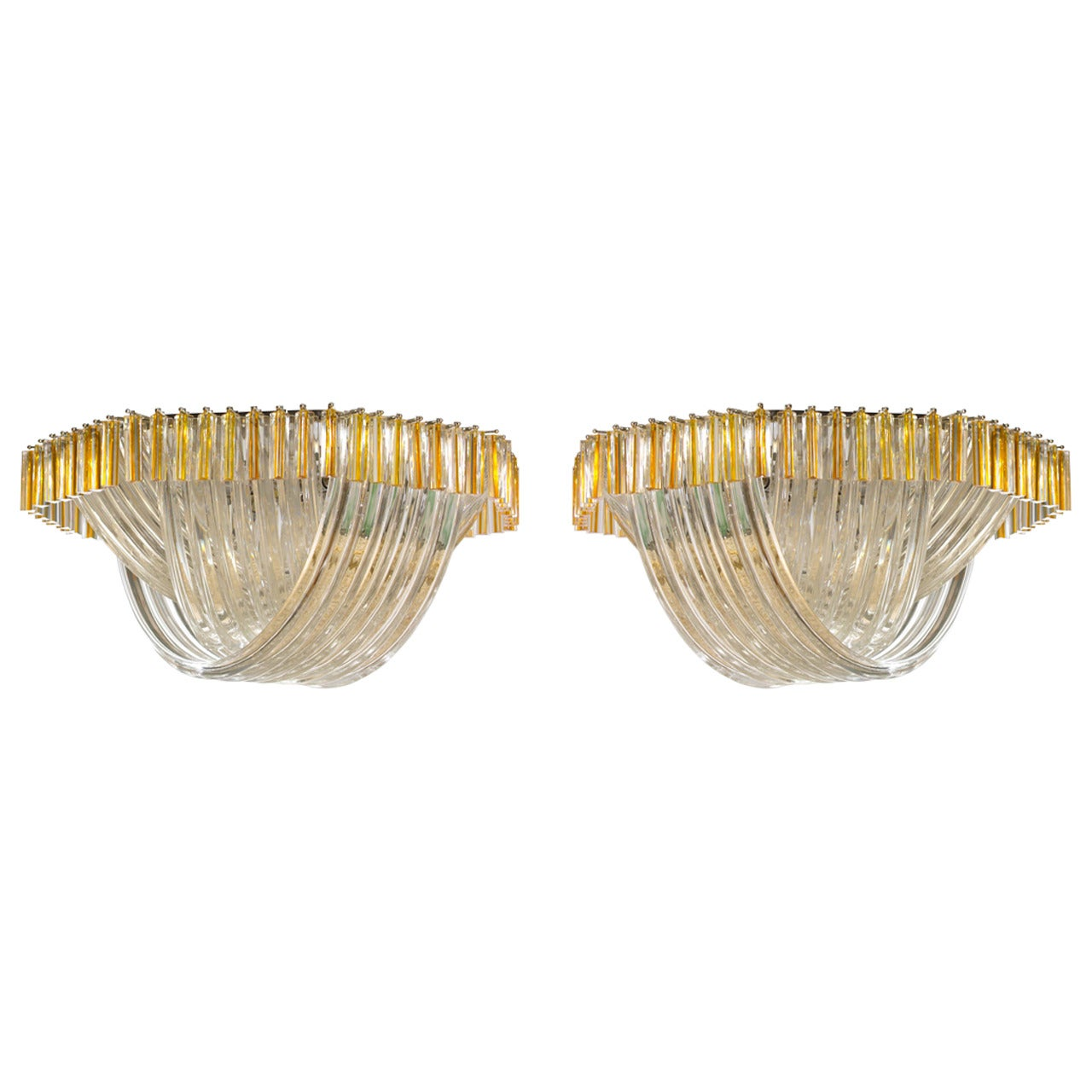 Pair of Flush Mounts in Murano Glass Amber Curves Venini 1980s Italy