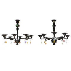 Italian Venetian Picasso Chandeliers, Black Blown Murano Glass, Cenedese, 1960s