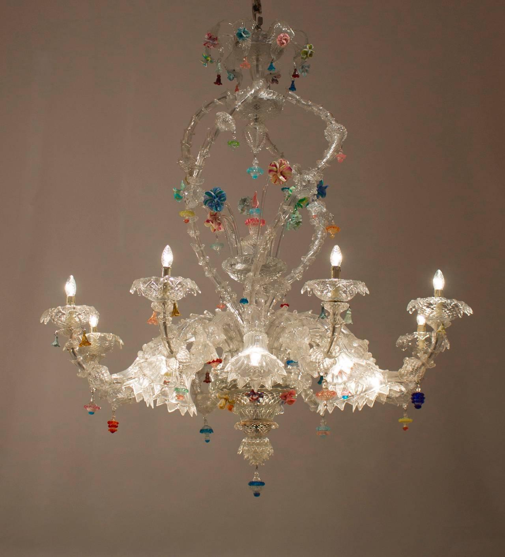 Italian Venetian Ca'rezzonico Chandelier, Blown Murano Glass, Seguso, 1950s For Sale 4