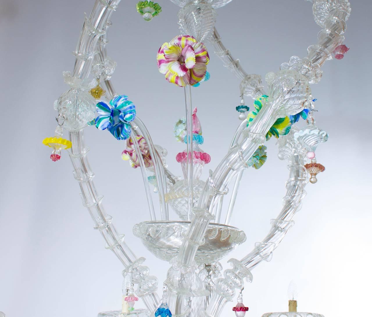 Italian Venetian Ca'rezzonico Chandelier, Blown Murano Glass, Seguso, 1950s In Excellent Condition For Sale In Villaverla, IT