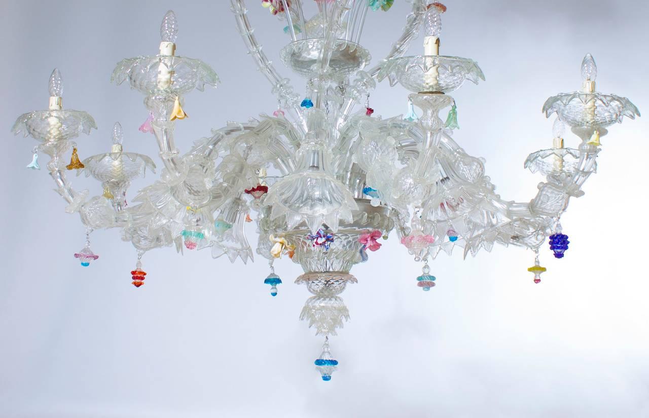 Italian Venetian Ca'rezzonico Chandelier, Blown Murano Glass, Seguso, 1950s For Sale 1
