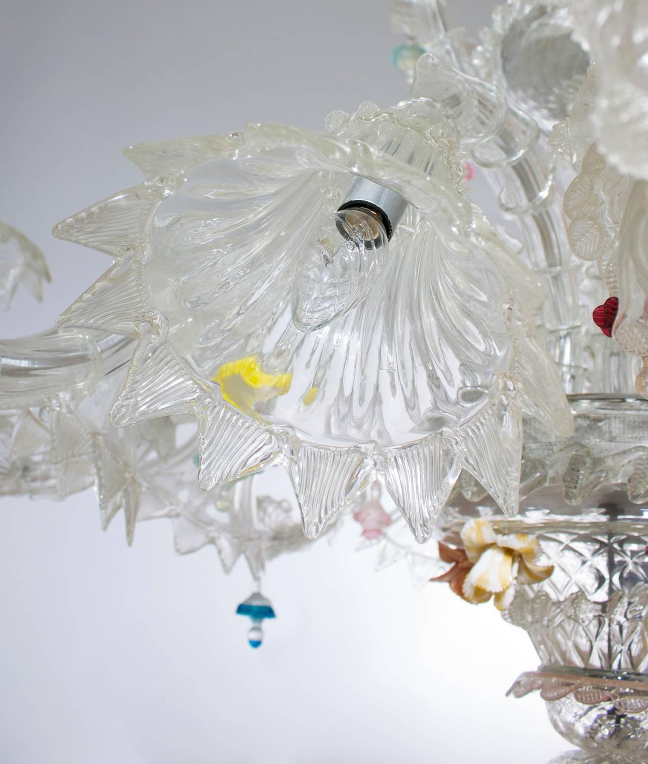 Italian Venetian Ca'rezzonico Chandelier, Blown Murano Glass, Seguso, 1950s For Sale 2