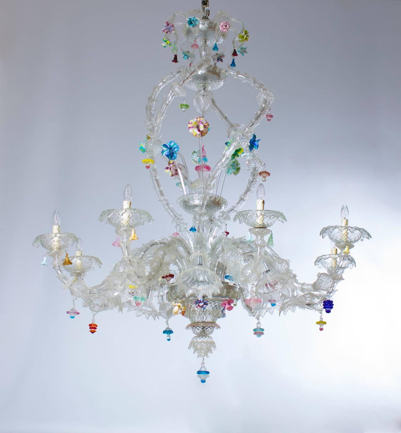 Italian Venetian Ca'rezzonico Chandelier, Blown Murano Glass, Seguso, 1950s For Sale 3