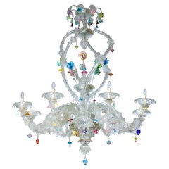 Italian Venetian Ca'rezzonico Chandelier, Blown Murano Glass, Seguso, 1950s