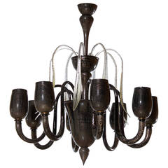 Italian Venetian Chandelier, Blown Murano Glass, Black Silver, Cenedese, 1990s