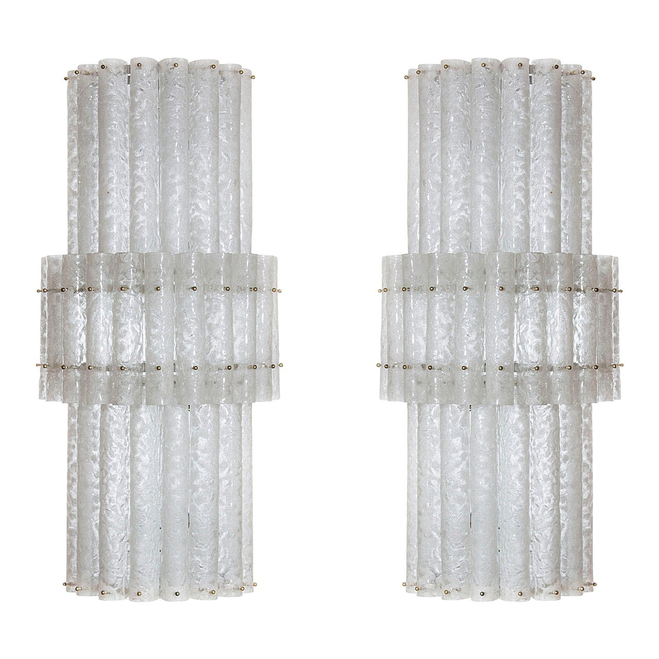 Pair of huge Sconces in Murano Glass, attributed to Mazzega 1970s, Italy
