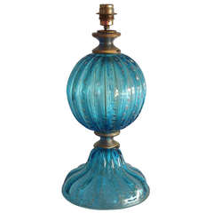 Italian Venetian Murano Glass Table Lamp Attributed to Seguso