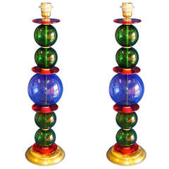 Pair of Murano Table Lamps attributed to Carlo Scarpa from Venini