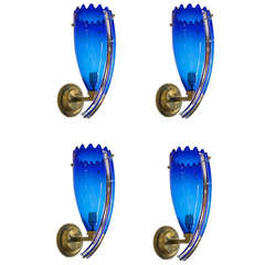Italian Venetian Sconces in Blown Murano Glass, Blue Charming, Camer Glass, 1960
