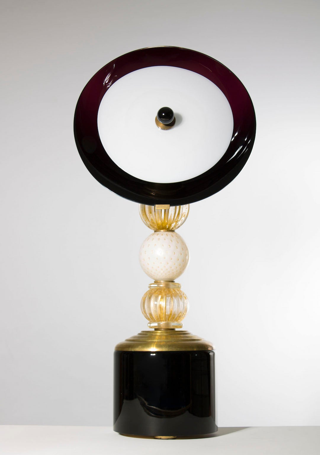 Modern Italian Venetian Pair of Table Lamps, Gold 24-Karat Purple, 20th Century For Sale