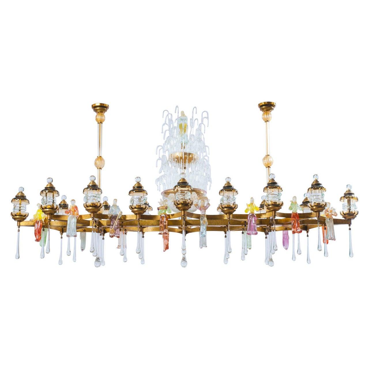 "Italian Venetian All Blown Murano Glass ""Country Festival"" Chandelier, 1950s"
