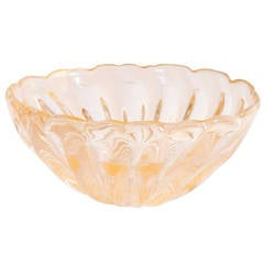 Italian Venetian Bowl Gold 24-Karat, Blown Murano Glass, Designed by Barovier