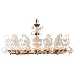 Murano Fountain Chandelier in Gold blown Glass attributed Barovier, 1950s Italy