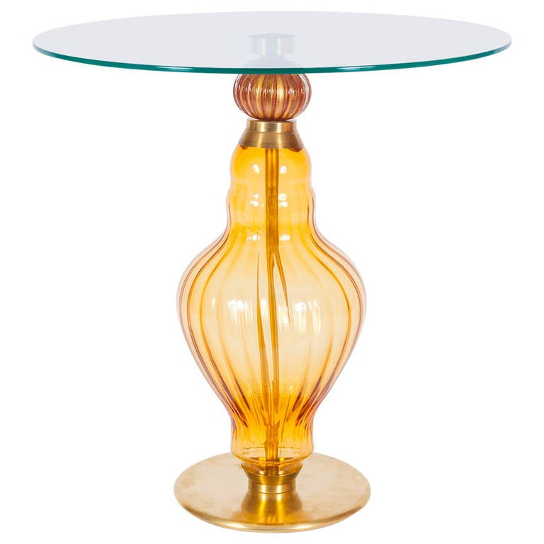 Handcrafted Amber Murano Blown Glass Mid-Century Italian Coffee Table, 1960s