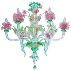 """Handcrafted Italian """"Flower"""" Venetian Murano Glass Chandelier Green Pink, 1990s"""