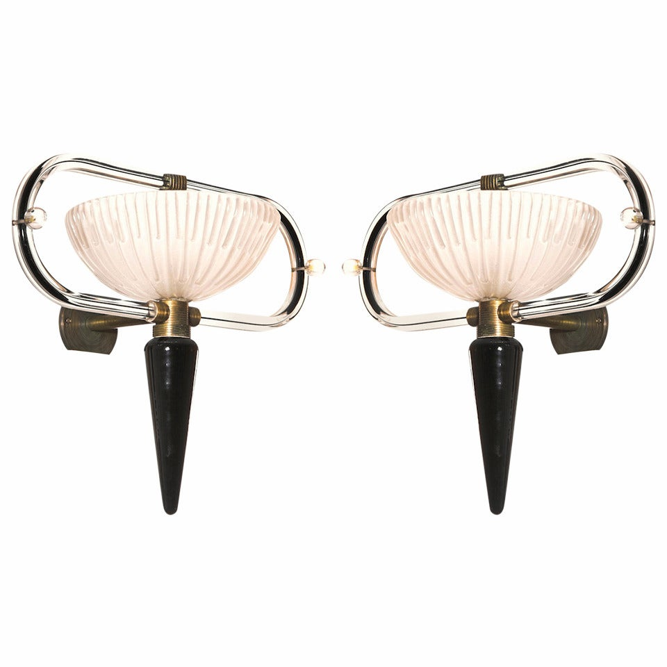 Pair of sconces in blown Murano Glass Black & White Camer Glass 1960s Italy