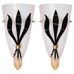 Italian Venetian Sconces, Blown Murano Glass, Black Gold White, Deco, 1980s
